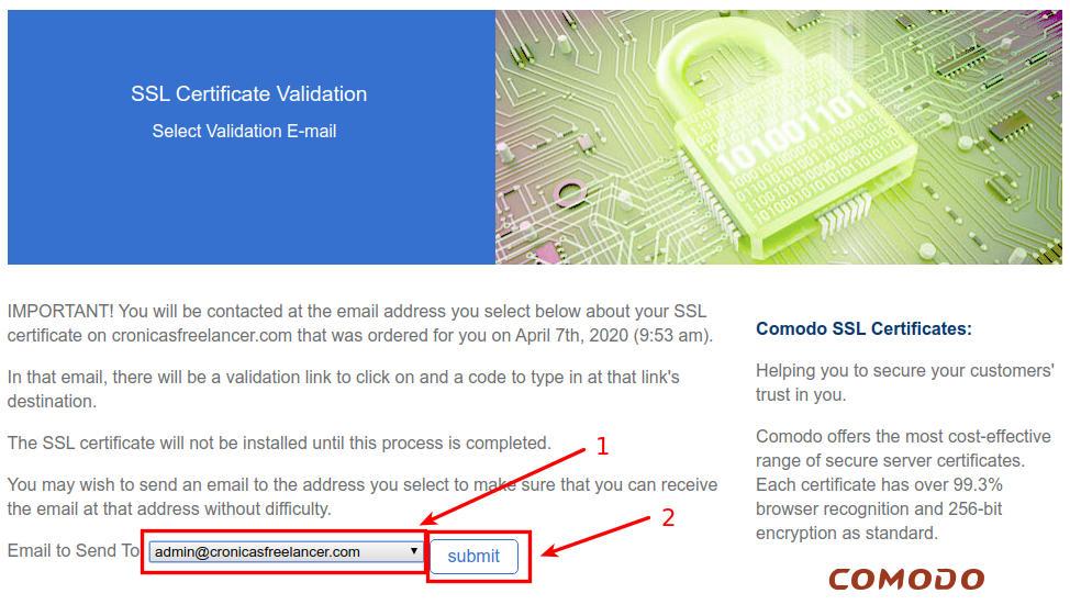 confirmación validación bluehost ssl
